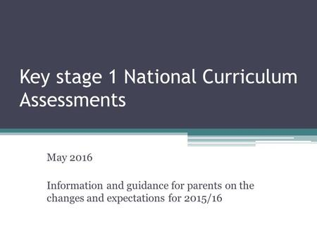 Key stage 1 National Curriculum Assessments May 2016 Information and guidance for parents on the changes and expectations for 2015/16.