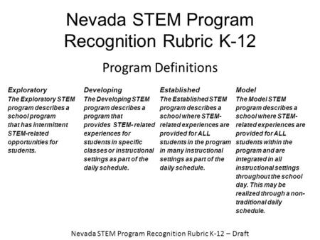 Nevada STEM Program Recognition Rubric K-12 Program Definitions Exploratory The Exploratory STEM program describes a school program that has intermittent.