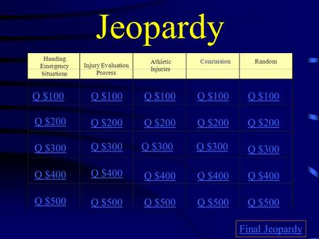 Jeopardy Handing Emergency Situations Athletic Injuries Random Q $100 Q $200 Q $300 Q $400 Q $500 Q $100 Q $200 Q $300 Q $400 Q $500 Final Jeopardy Injury.