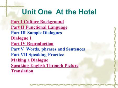 Unit One At the Hotel Part I Culture Background Part II Functional Language Part III Sample Dialogues Dialogue 1 Part IV Reproduction Part V Words, phrases.