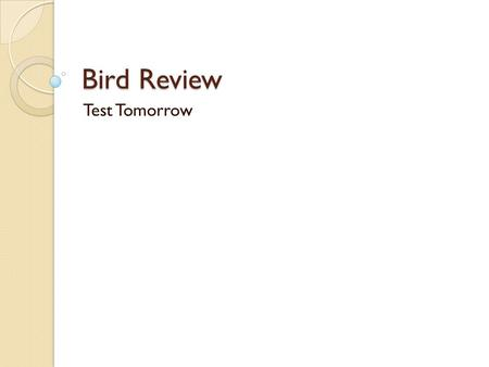 Bird Review Test Tomorrow. Aves – adapted for flight (wings, feathers), endothermy, high metabolism, spine for flight, light bones Modern birds – horny.