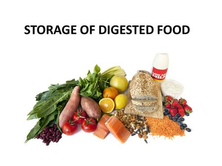 STORAGE OF DIGESTED FOOD. We know that food is digested and carried around in the blood. From the blood, cells absorb the nutrients. Starch is digested.