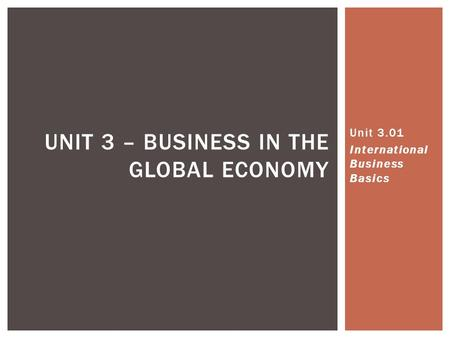 UNIT 3 – BUSINESS IN THE GLOBAL ECONOMY Unit 3.01 International Business Basics.