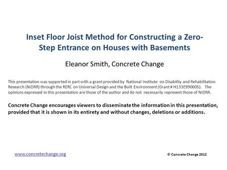 Inset Floor Joist Method for Constructing a Zero-