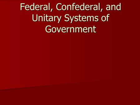 difference between federal and unitary system