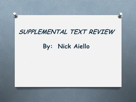 SUPPLEMENTAL TEXT REVIEW By: Nick Aiello. A Leader's Legacy By: James M. Kouzes & Barry Posner.