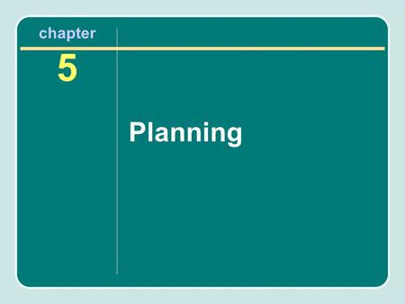 Chapter 5 Planning. Importance of Planning It could be said that nothing is more important in the development of a recreation facility than the planning.