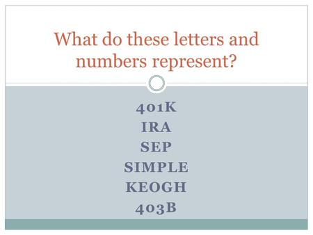 401K IRA SEP SIMPLE KEOGH 403B What do these letters and numbers represent?