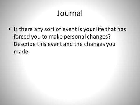 Journal Is there any sort of event is your life that has forced you to make personal changes? Describe this event and the changes you made.