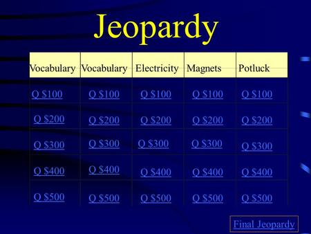Jeopardy Vocabulary ElectricityMagnets Potluck Q $100 Q $200 Q $300 Q $400 Q $500 Q $100 Q $200 Q $300 Q $400 Q $500 Final Jeopardy.