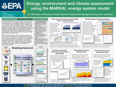 Contacts:  Energy, environment and climate assessment using the MARKAL energy system model U.S. EPA Office of Research.