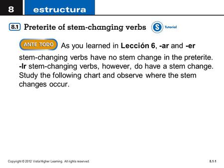 Copyright © 2012 Vista Higher Learning. All rights reserved.8.1-1  As you learned in Lección 6, -ar and -er stem-changing verbs have no stem change in.