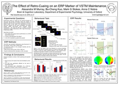 The Effect of Retro-Cueing on an ERP Marker of VSTM Maintenance Alexandra M Murray, Bo-Cheng Kuo, Mark G Stokes, Anna C Nobre Brain & Cognition Laboratory,