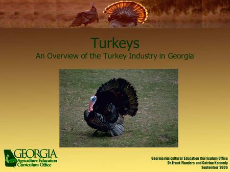 Turkeys An Overview of the Turkey Industry in Georgia Georgia Agricultural Education Curriculum Office Dr. Frank Flanders and Catrina Kennedy September.
