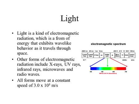 Light Light is a kind of electromagnetic radiation, which is a from of energy that exhibits wavelike behavior as it travels through space. Other forms.