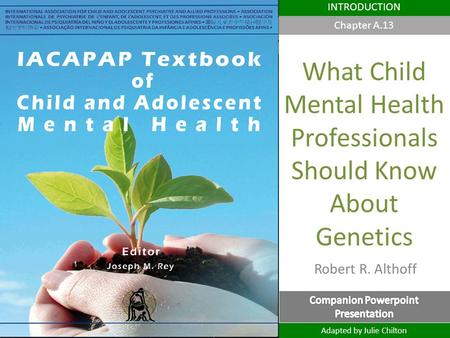 Robert R. Althoff DEPRESSION IN CHILDREN AND ADOLESCENTS INTRODUCTION What Child Mental Health Professionals Should Know About Genetics Adapted by Julie.