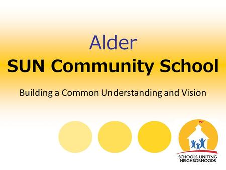 SUN Community School Alder Building a Common Understanding and Vision.