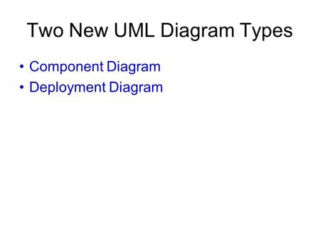 Two New UML Diagram Types Component Diagram Deployment Diagram.
