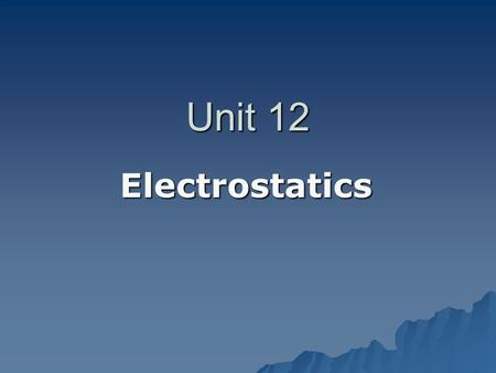 Unit 12 Electrostatics. Electrostatics  Electricity at Rest  It involves 1. Electric Charges 2. The Forces Between Them 2. The Forces Between Them 3.