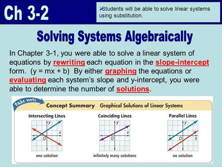  Students will be able to solve linear systems using substitution. In Chapter 3-1, you were able to solve a linear system of equations by rewriting each.