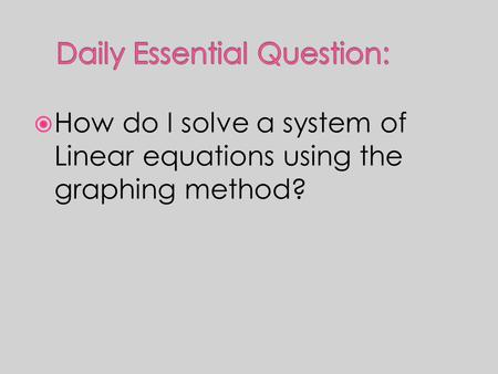  How do I solve a system of Linear equations using the graphing method?