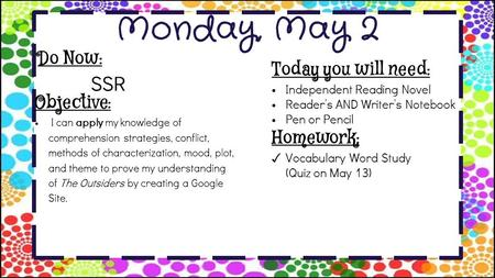 Monday, May 2 Do Now: SSR Homework: ✓ Vocabulary Word Study (Quiz on May 13) Objective: I can apply my knowledge of comprehension strategies, conflict,