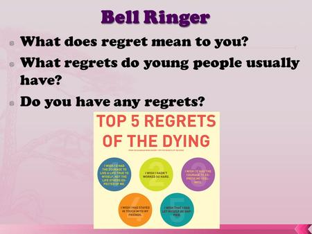  What does regret mean to you?  What regrets do young people usually have?  Do you have any regrets?
