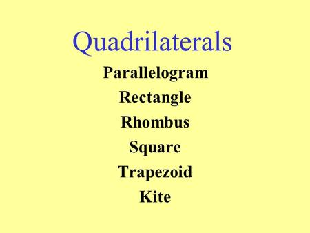Quadrilaterals Parallelogram Rectangle Rhombus Square Trapezoid Kite.