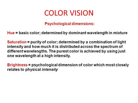 Psychological dimensions: