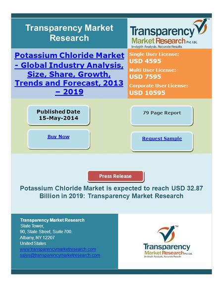USD 4595USD 4595 USD 7595USD 7595 Transparency Market Research Potas ium Chloride Market - Global Industry Analysis, Size, Share, Growth, Trends and Forecast,