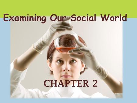 CHAPTER 2 Examining Our Social World. Social <strong>Research</strong> Examines human behavior Is guided by rules and procedures Involves the objective gathering of <strong>data</strong>.