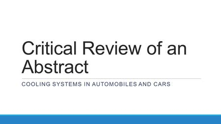 Critical Review of an Abstract COOLING SYSTEMS IN AUTOMOBILES AND CARS.