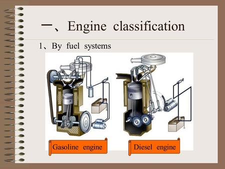 Gasoline engineDiesel engine 一、 Engine classification 1 、 By fuel systems.