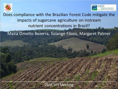 Does compliance with the Brazilian Forest Code mitigate the impacts of sugarcane agriculture on instream nutrient concentrations in Brazil? Maíra Ometto.