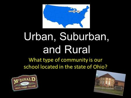 Urban, Suburban, and Rural What type of community is our school located in the state of Ohio?