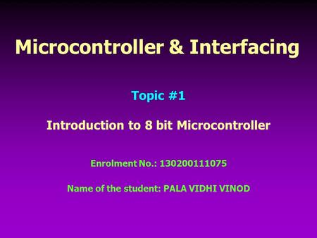Microcontroller & Interfacing