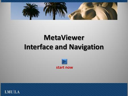 MetaViewer Interface and Navigation start now. What is MetaViewer? Log On/Off to the system Main Window and Panes Master Index and Folder Pane Account.