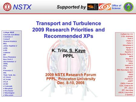 Supported by Office of Science NSTX K. Tritz, S. Kaye PPPL 2009 NSTX Research Forum PPPL, Princeton University Dec. 8-10, 2008 Transport and Turbulence.