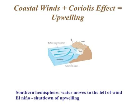 Coastal Winds + Coriolis Effect = Upwelling Southern hemisphere: water moves to the left of wind El niño - shutdown of upwelling.