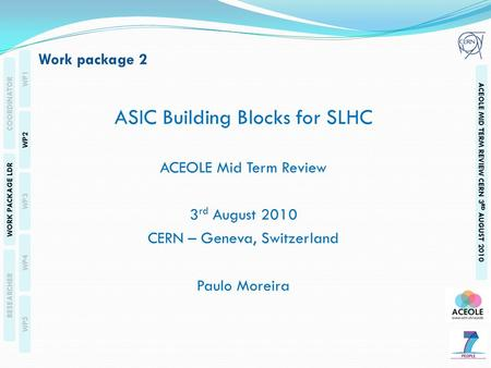 WP1 WP2 WP3 WP4 WP5 COORDINATOR WORK PACKAGE LDR RESEARCHER ACEOLE MID TERM REVIEW CERN 3 RD AUGUST 2010 ASIC Building Blocks for SLHC ACEOLE Mid Term.