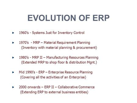 EVOLUTION OF ERP 1960's - Systems Just for Inventory Control 1970's - MRP – Material Requirement Planning (Inventory with material planning & procurement)