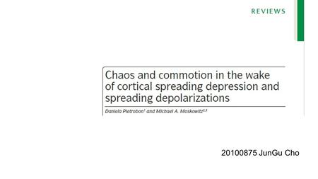 20100875 JunGu Cho. Cortical spreading depression Cortical spreading depression(CSD) is a slowly propagating wave of rapid, near-complete depolarization.