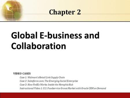 Global E-business and Collaboration Chapter 2 VIDEO CASES Case 1: Walmart's Retail Link Supply Chain Case 2: Salesforce.com: The Emerging Social Enterprise.
