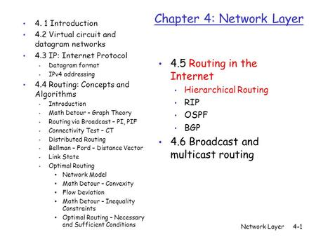 Network Layer4-1 Chapter 4: Network Layer 4. 1 Introduction 4.2 Virtual circuit and datagram networks 4.3 IP: Internet Protocol Datagram format IPv4 addressing.