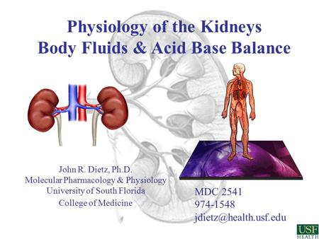 Physiology of the Kidneys Body Fluids & <strong>Acid</strong> <strong>Base</strong> <strong>Balance</strong> MDC 2541 974-1548 John R. Dietz, Ph.D. Molecular Pharmacology & Physiology.