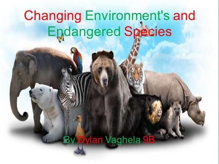 Changing Environment's and Endangered Species By Dylan Vaghela 9B.