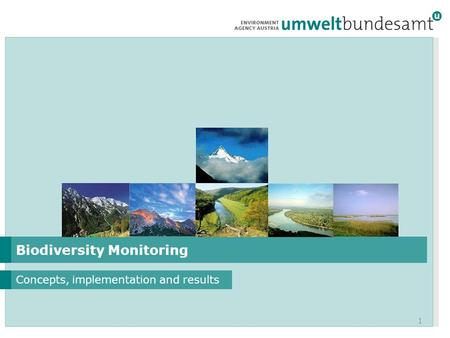 Biodiversity Monitoring Concepts, implementation and results 1.