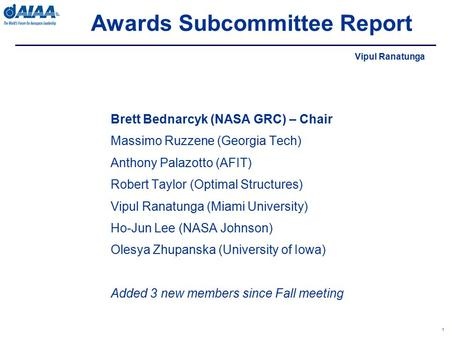 Awards Subcommittee Report 1 Brett Bednarcyk (NASA GRC) – Chair Massimo Ruzzene (Georgia Tech) Anthony Palazotto (AFIT) Robert Taylor (Optimal Structures)