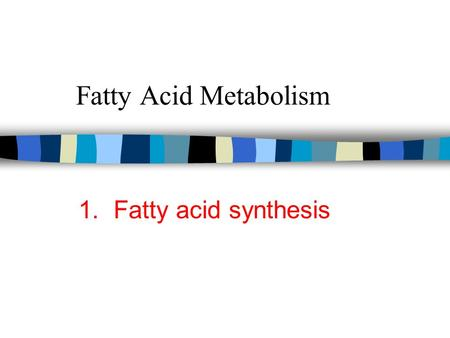 Fatty Acid Metabolism 1. Fatty acid synthesis. Insulin Effects figure 1 n Liver –increased fatty acid synthesis glycolysis, PDH, FA synthesis –increased.