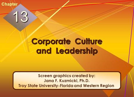 McGraw-Hill/Irwin© 2005 The McGraw-Hill Companies, Inc. All rights reserved. 13-1 Corporate Culture and Leadership 1313 Chapter Screen graphics created.